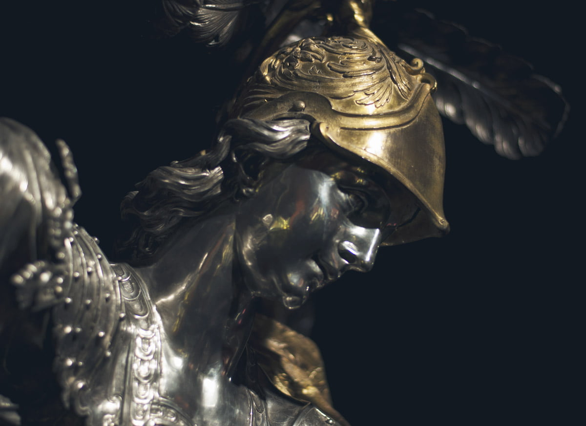 Silver statue of St. Michael